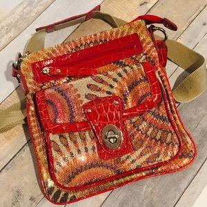 BOHO Handbag Red Sequin Cross Body Purse